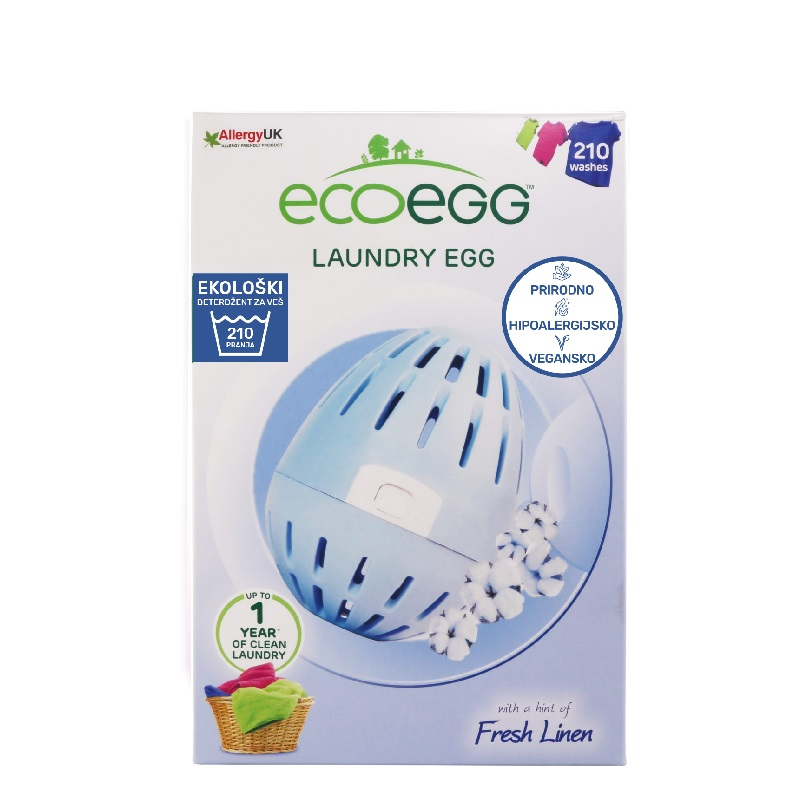 ECOEGG Natural, environmentally friendly, hipoalergenic laundry detergent (Fresh Linen - pack for 210 washes)
