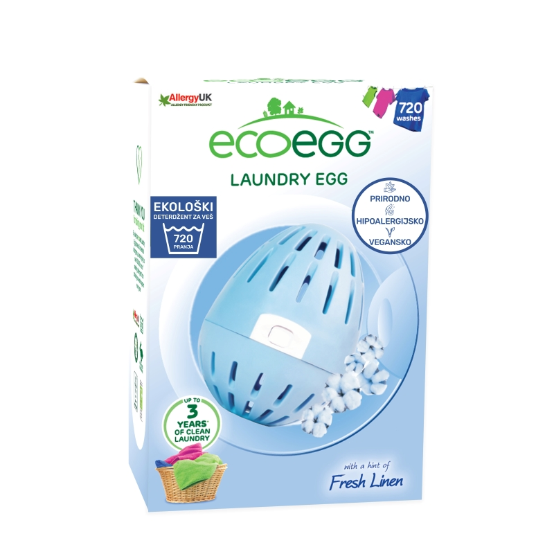 ECOEGG Natural, environmentally friendly, hipoalergenic laundry detergent (Fresh Linen - pack for 720 washes)