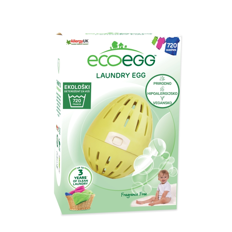 ECOEGG Natural, environmentally friendly, hipoalergenic laundry detergent (Fragrance Free - for 720 washes)