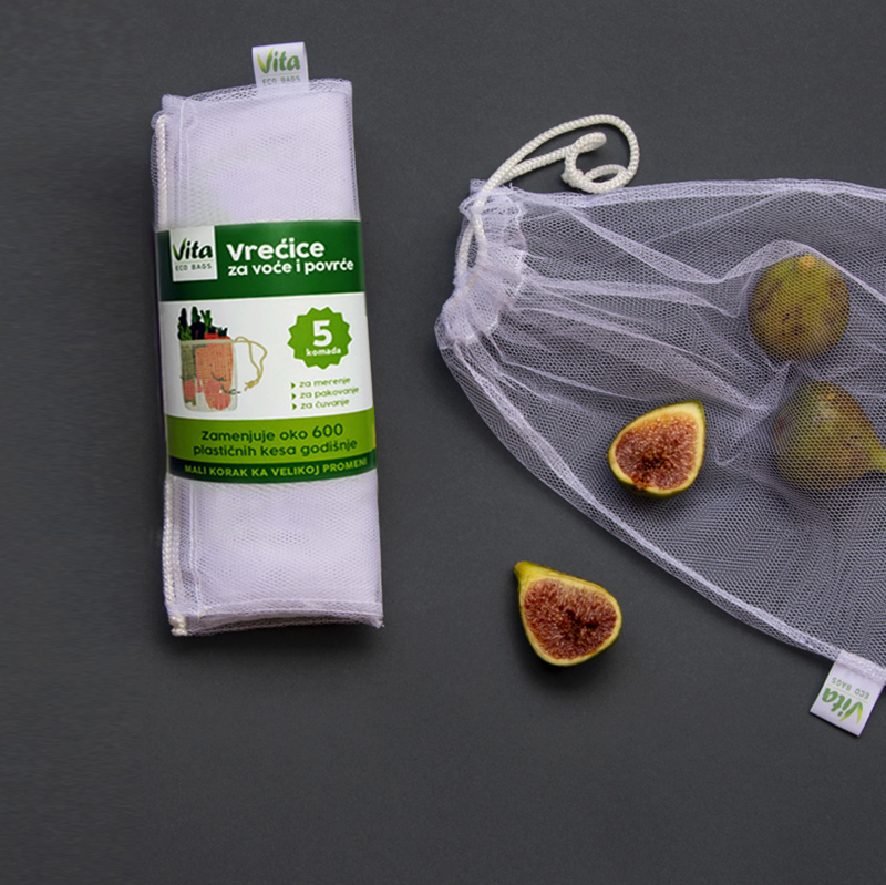 Reusable Eco Friendly Bags for fresh groceries (pack 5 pcs)
