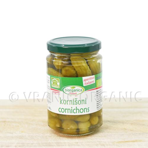 Organic cornichons in vinegar 280g