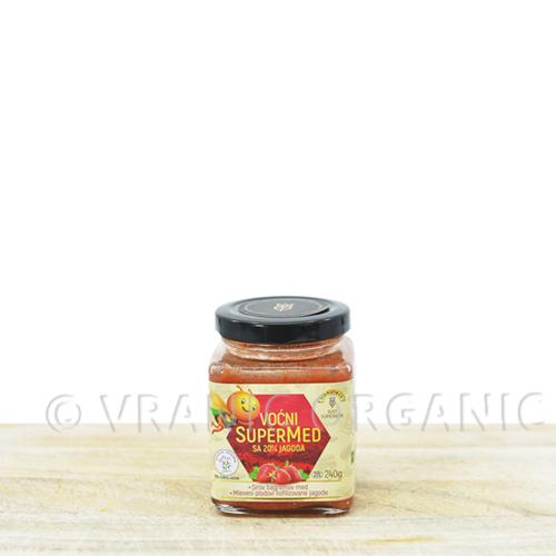 Organic honey with strawberries 240g