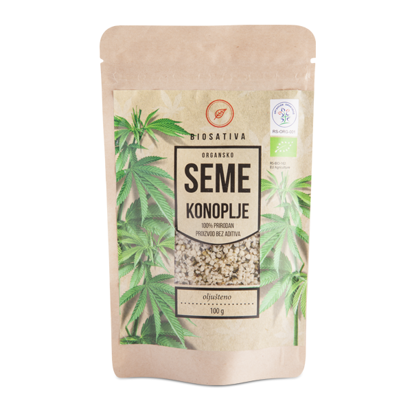Oljušteno seme organske konoplje (pak 100g)