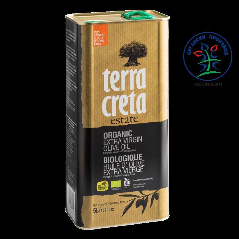 Terra Creta organic cold pressed olive oil (can 5 lit)