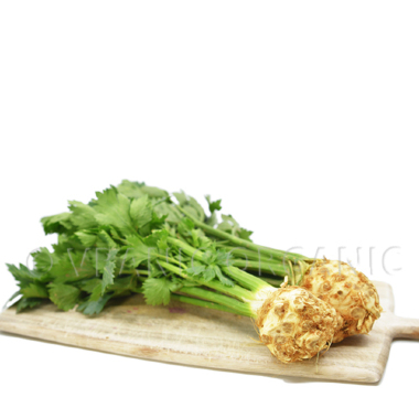 Organic celery root with leaves (piece))