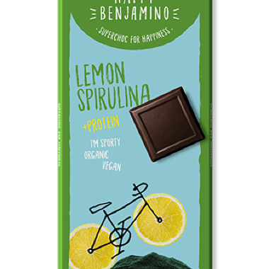 Organic chocolate with lemon & spirulina 70g
