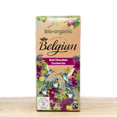 Belgian Organic Dark Chocolate with Cranberry 90g